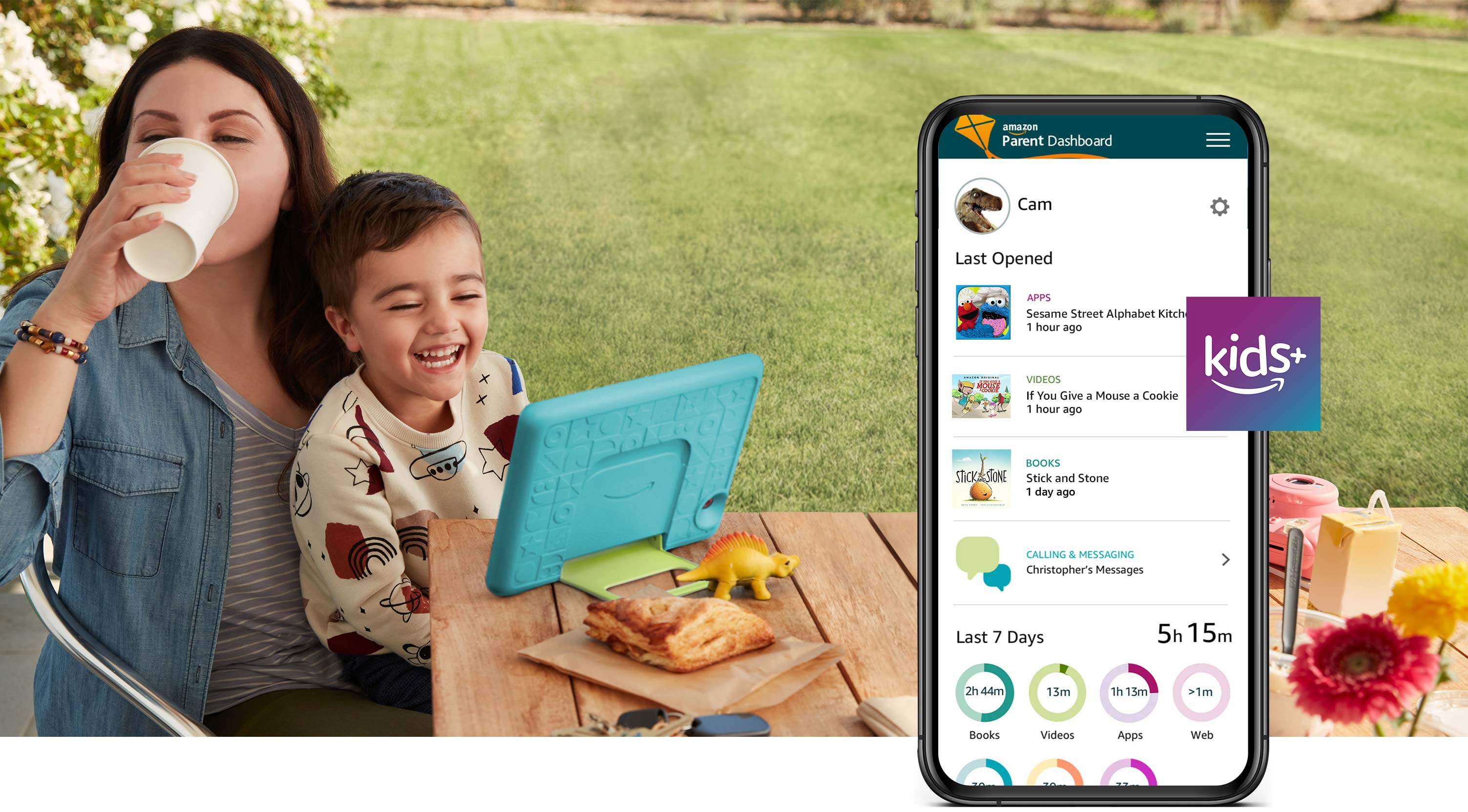 Adult woman and young male child using Fire HD 10 Kids together while seated outside.