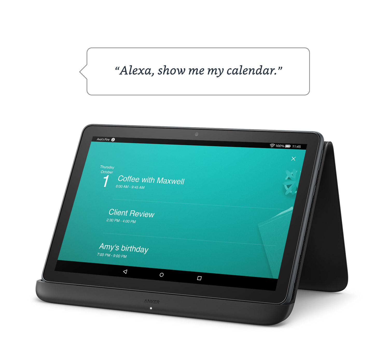 """""""Alexa, montre-moi mon calendrier.""""  Fire HD 10 Plus sur une surface, affichant le calendrier quotidien."""