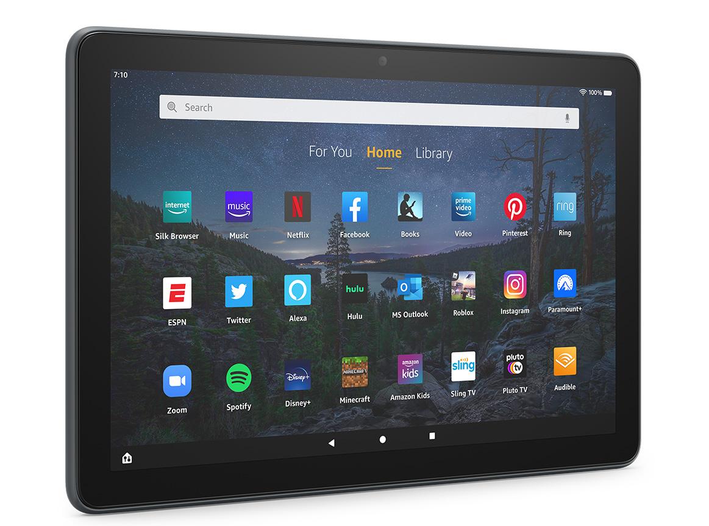 Tablette Fire HD 10 Plus et son écran d'accueil.