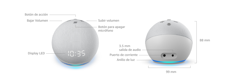 Echo Dot (4ta Generación) con reloj