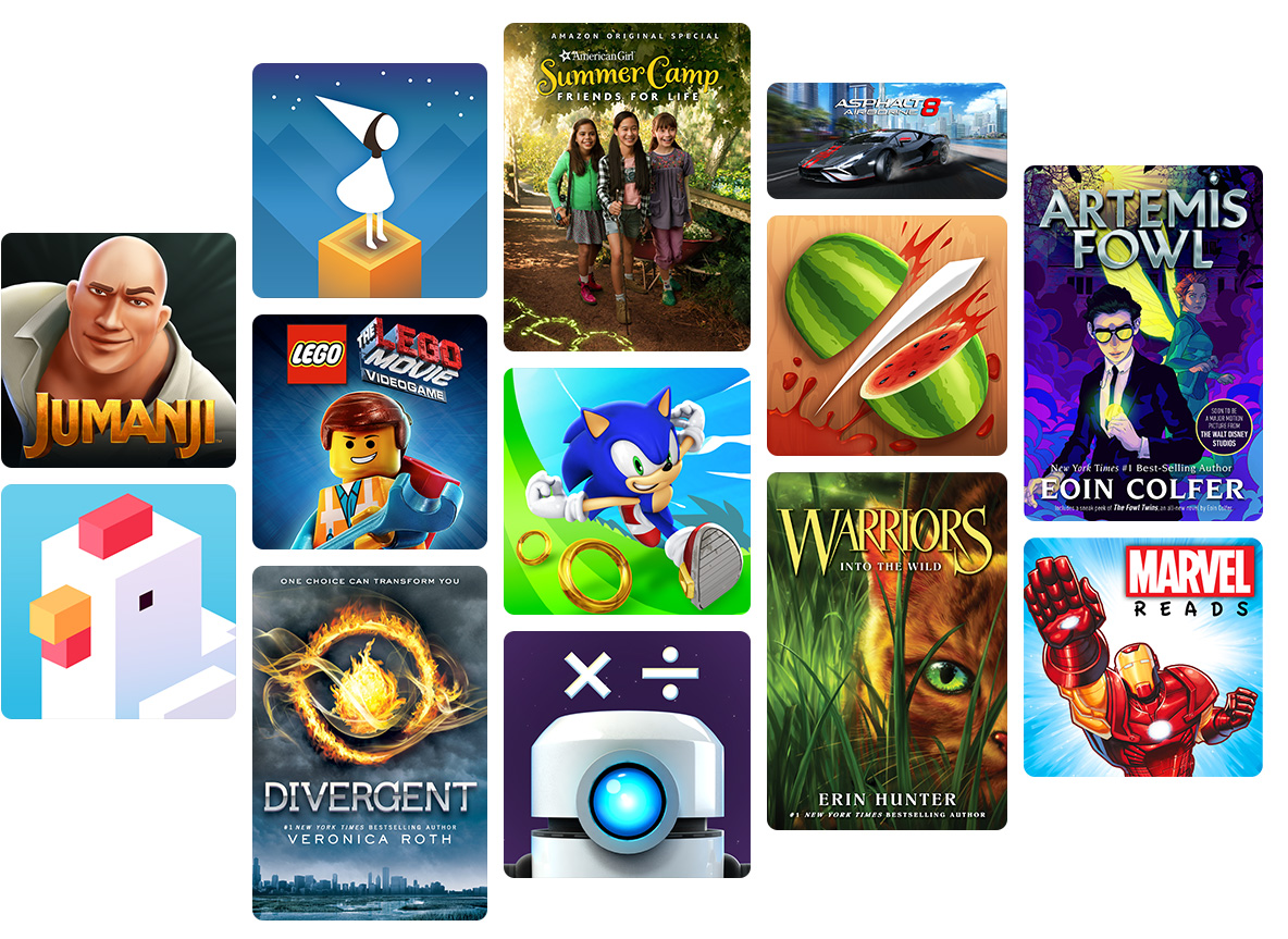 Assortment of book, game, and video titles for kids.
