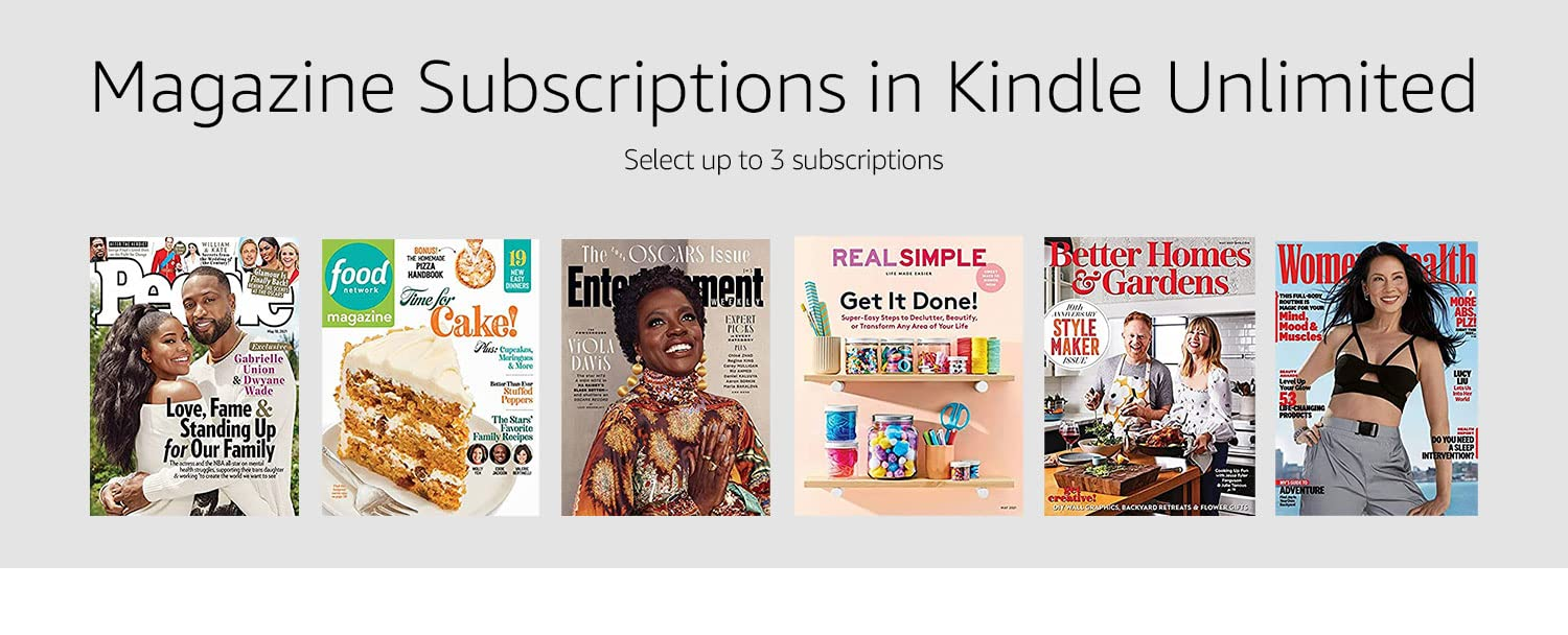 Magazine subscriptions in Kindle Unlimited--choose up to 3.