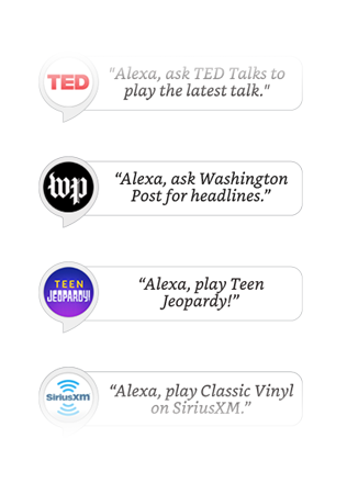 Ted Talks, Patron, Today in History, Sleep Sounds, and more Alexa Skills