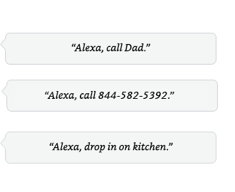 Alexa call Dad. | Alexa, send a message to Aaron | Alexa, drop in on the kitchen