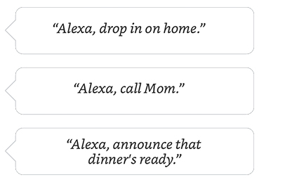 Alexa, drop in on home. | Alexa, call Mom. | Alexa, announce that dinner's ready.