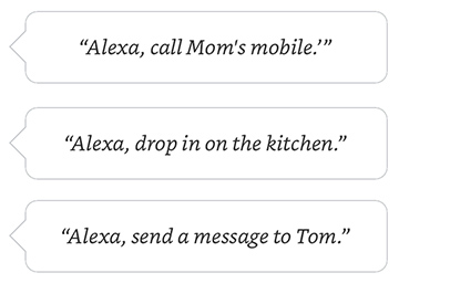 Alexa, call Moms mobile. | Alexa, drop in on the kitchen. | Alexa, send a message to Tom.