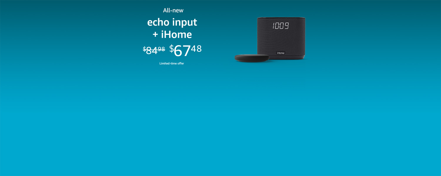 All-new Echo Input + iHome | $67.48 | Limited-time offer