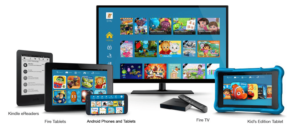 Amazon FreeTime Unlimited is available on Fire Tablets, eReaders, FireTV and Android phones and tablets
