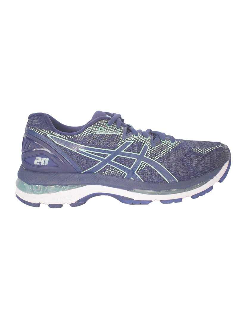 Side view of the Asics Nimbus 20 running shoe.