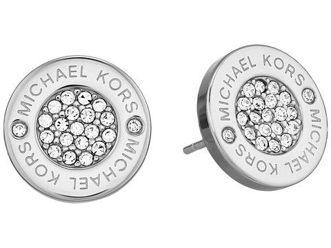 Image of a silver and rhinestone logo studs earrings
