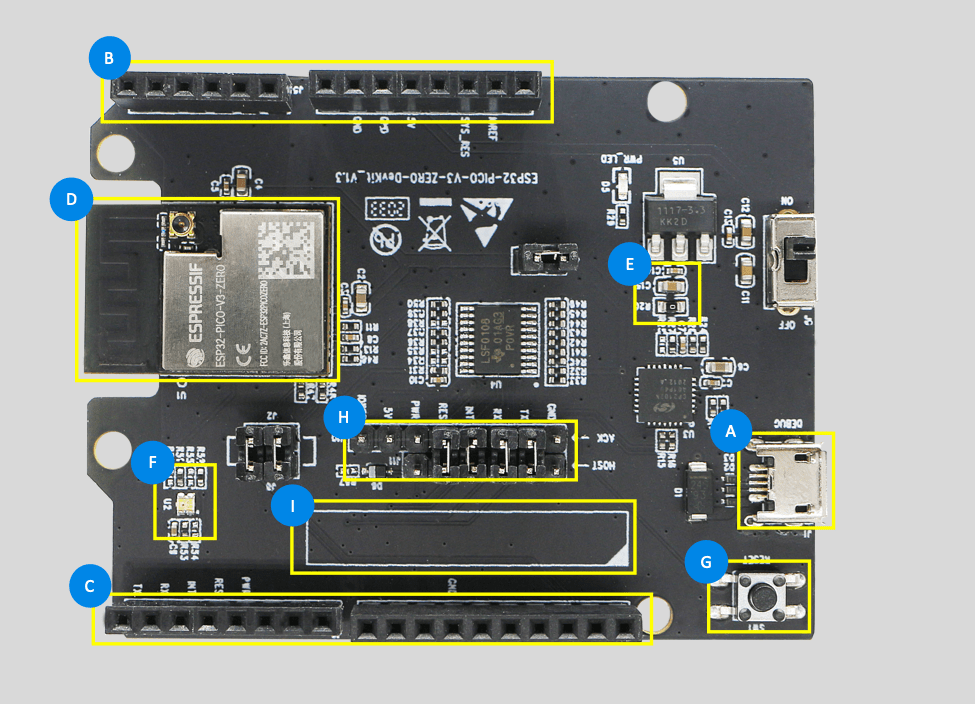 Espressif development board components