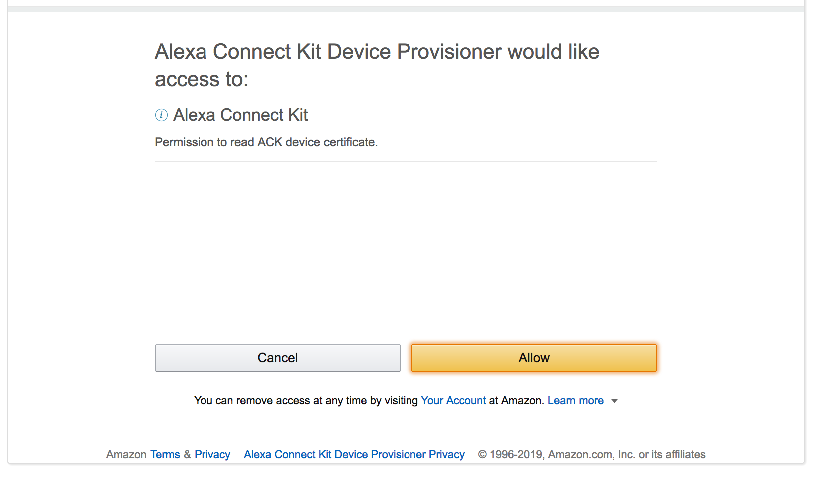 Grant the Alexa Connect Kit device provisioner permission to read the device certificate.