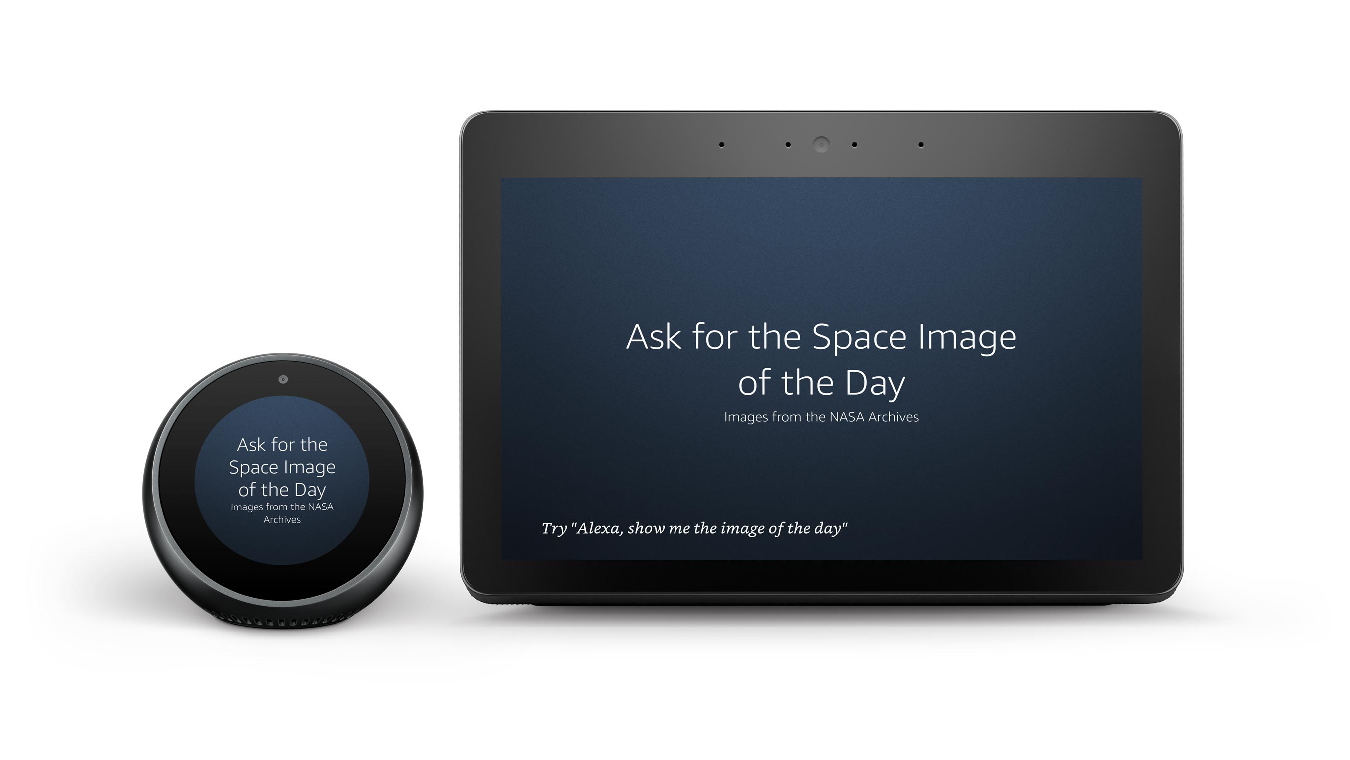An example of two hub devices a headline saying Ask for the Space Image of the Day from the NASA archives with hint text in the footer on the default background dark blue color.