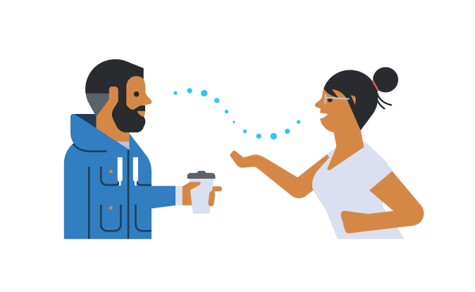 Illustration of two people in conversation. On the left is a man listening to a woman speaking and gesturing towards him on the right. Between them a wave represents the flow of conversation between them.