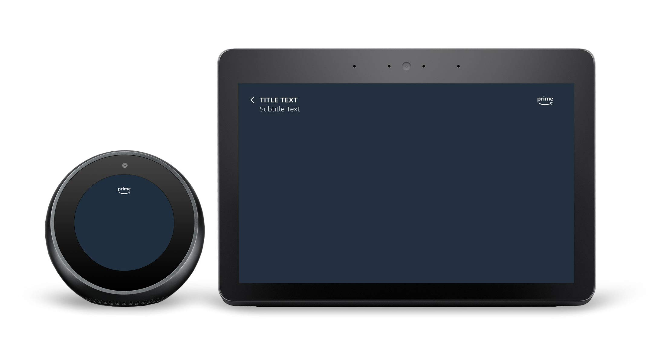 Image of a round and square hub device displaying the prime logo and Amazon Ember font at the top of the screen