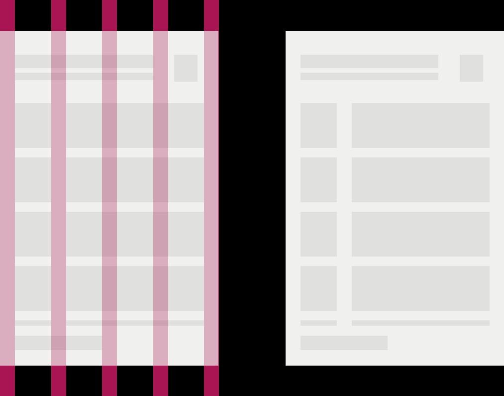 小サイズのデバイスのページにカラム間隔を表す赤線が引かれたレイアウト