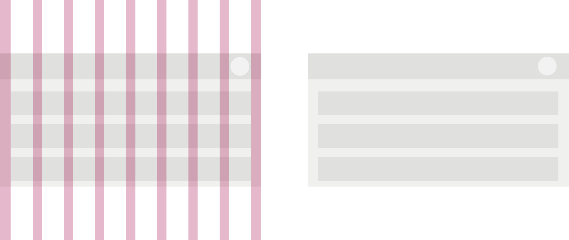 中サイズのデバイスのページにカラム間隔を表す赤線が引かれたレイアウト