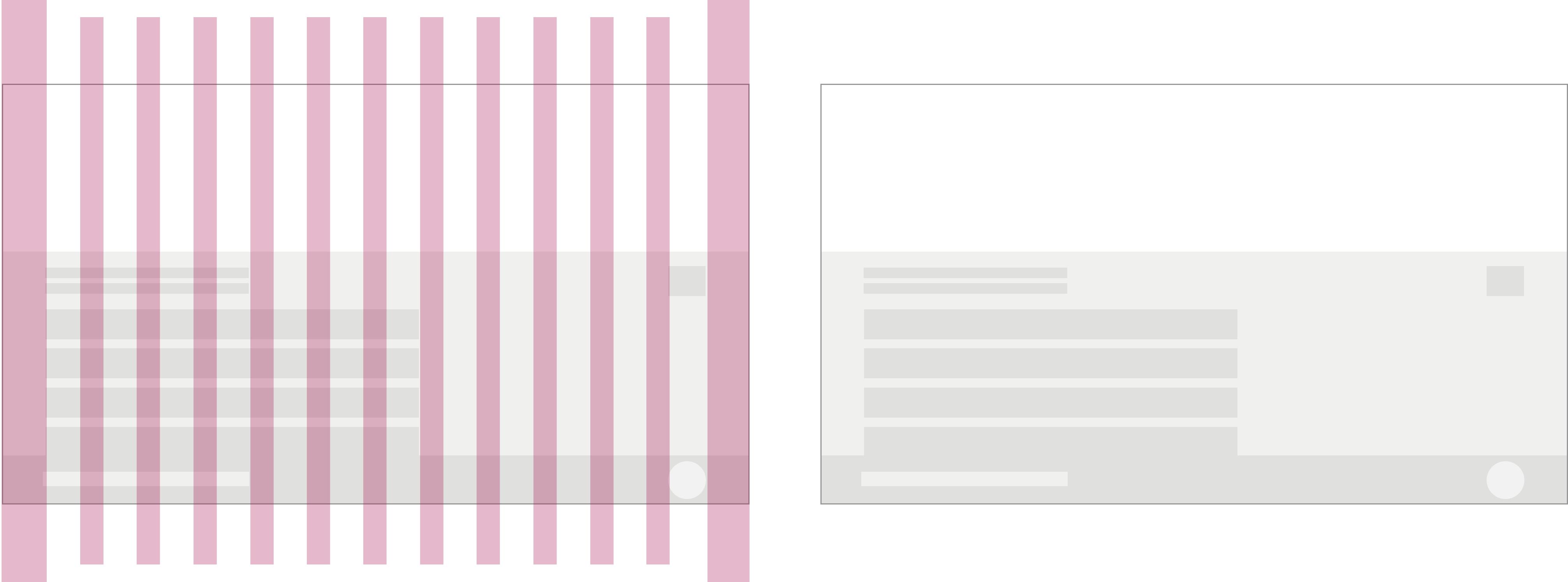 大サイズのテレビのページにカラム間隔を表す赤線が引かれたレイアウト