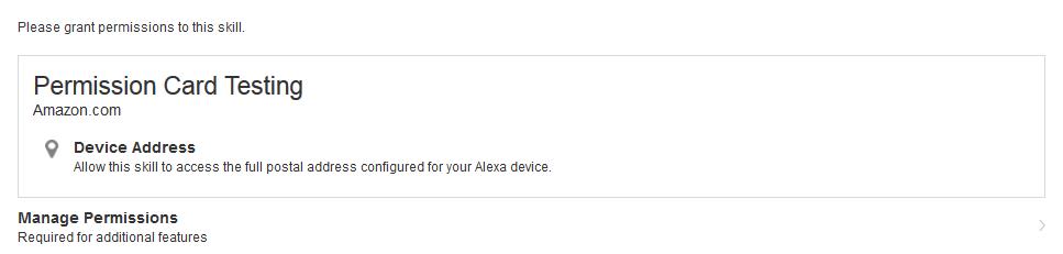 Permissions card in the Alexa companion app