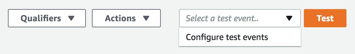 Configure Test events drop down
