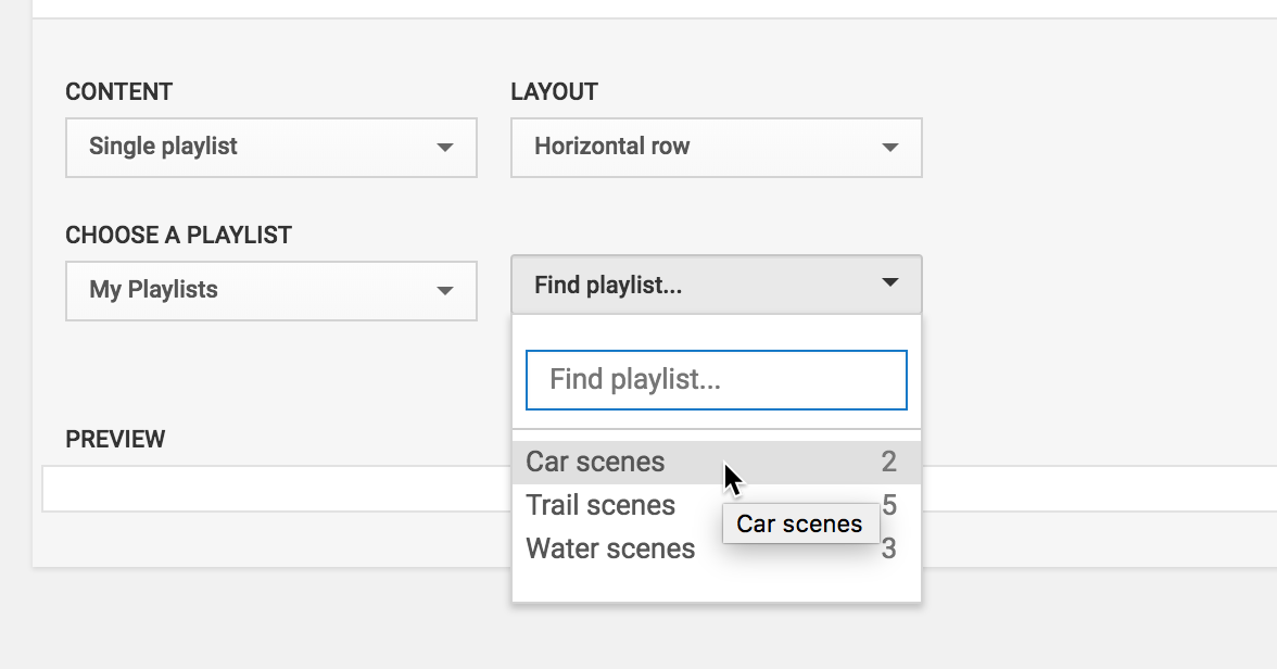 Customizing a section to show a single playlist