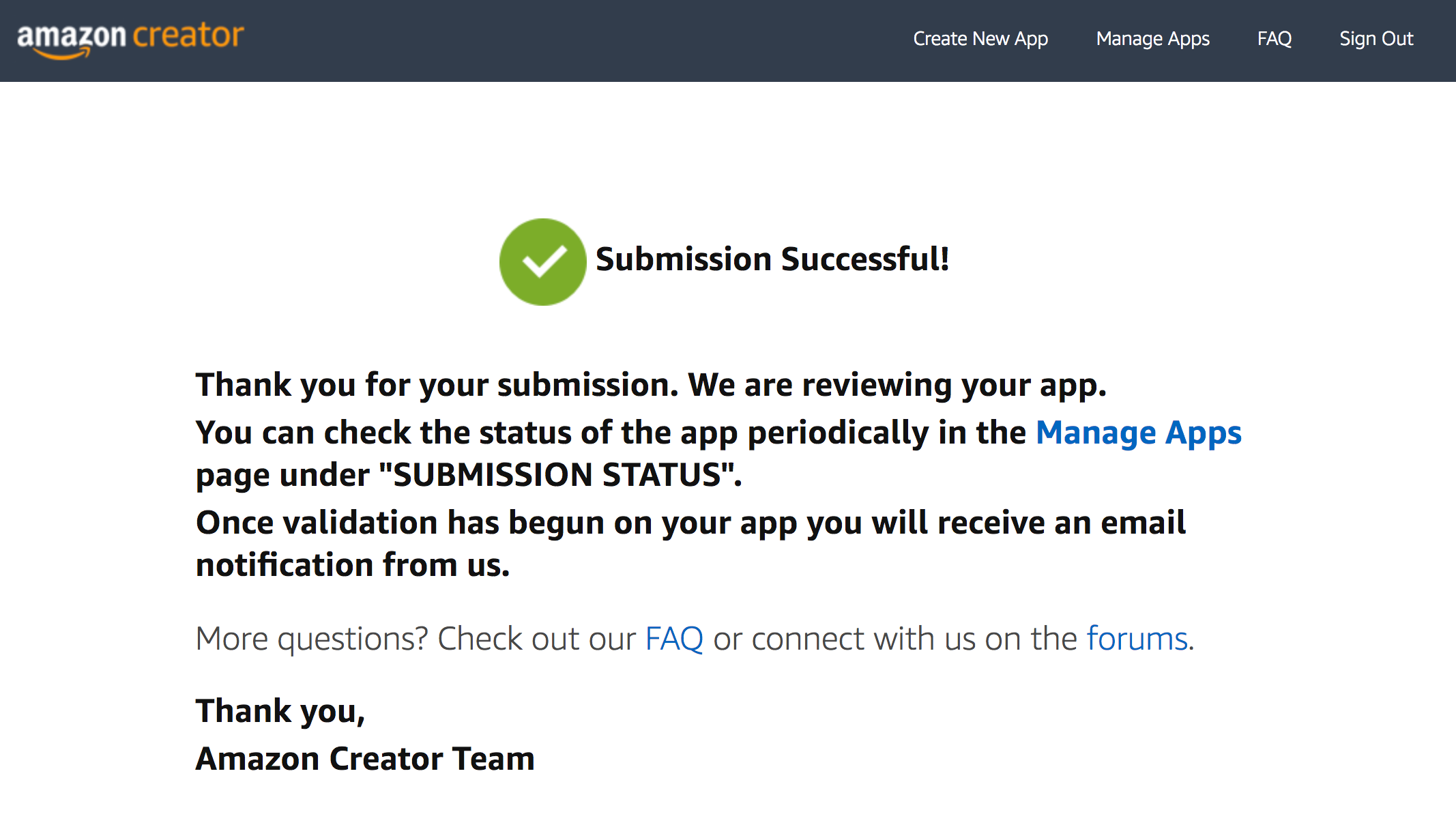 Submission successful