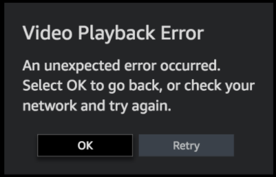 Video PlayBack Error