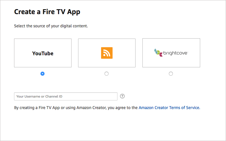 Options for video sources for your Amazon Creator app