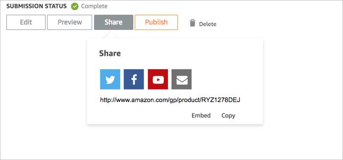Share options for Amazon Creator