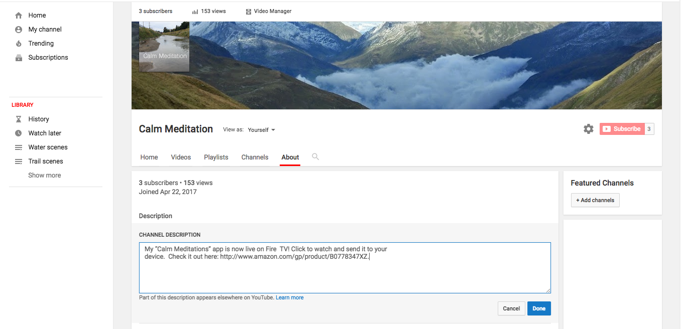 Updating your YouTube channel description