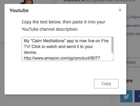 Youtube channel description text