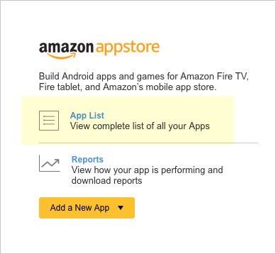 Amazon Appstore section in Dashboard