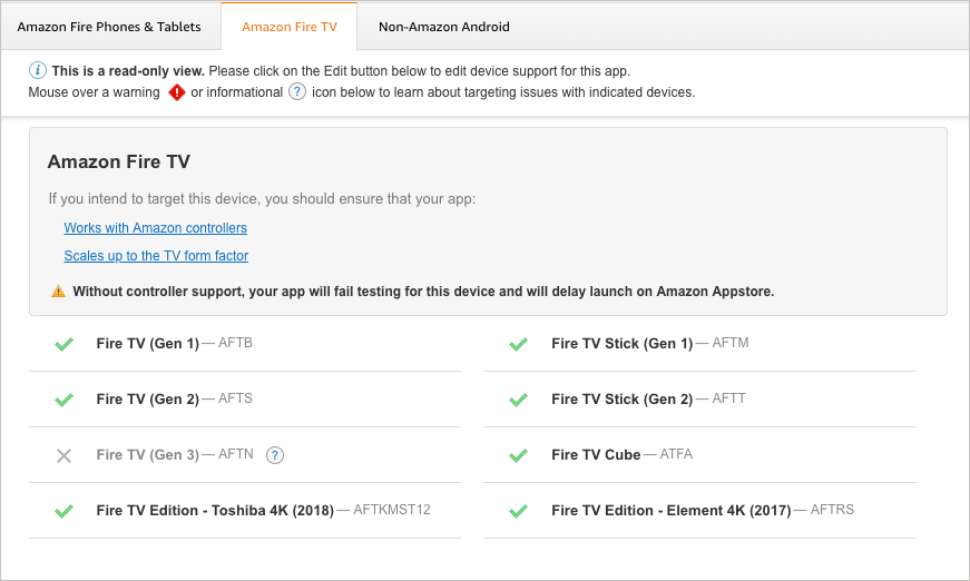 Device support for Fire TV