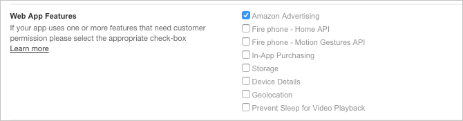 Select Amazon Advertising when you submit your app in the Developer Console