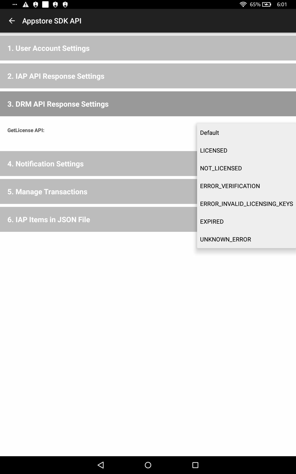 DRM API Response Settings