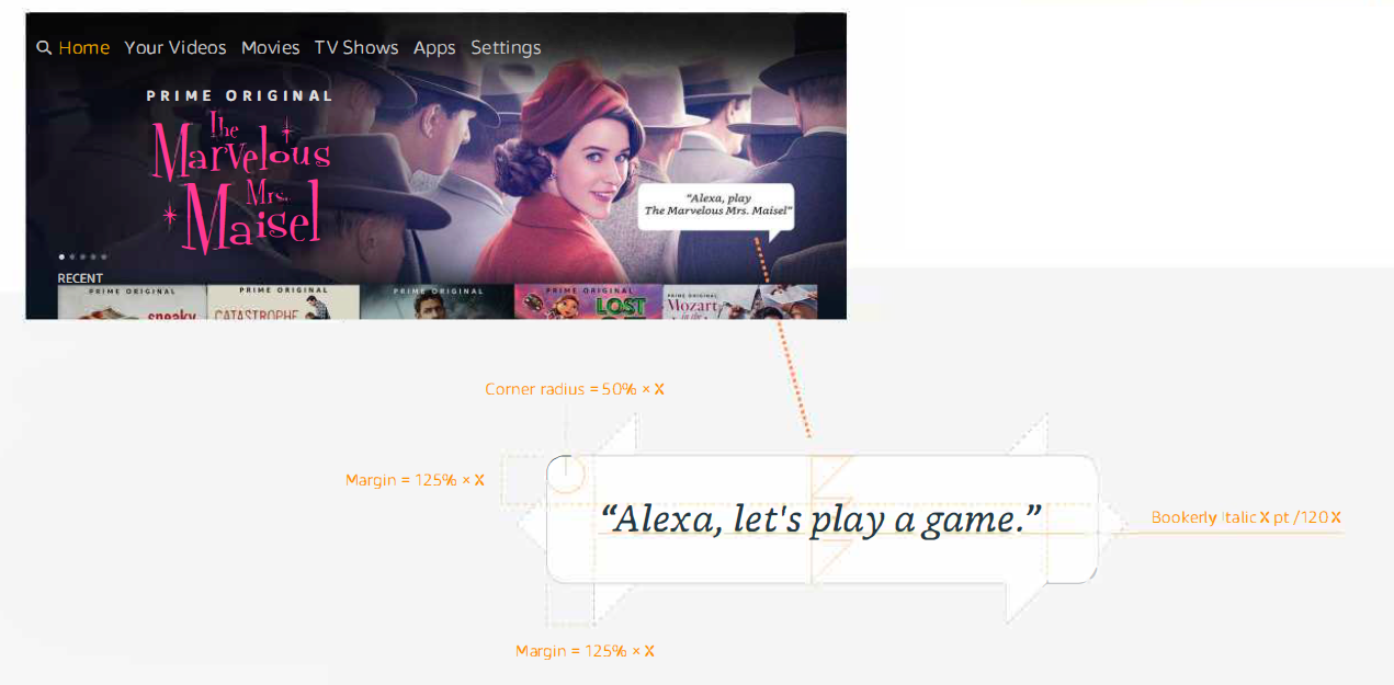 フィーチャーローテーターの背景画像アセット内のAlexa音声の吹き出し