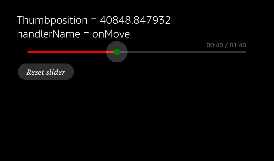 Example of updating a Text component when the user moves the slider