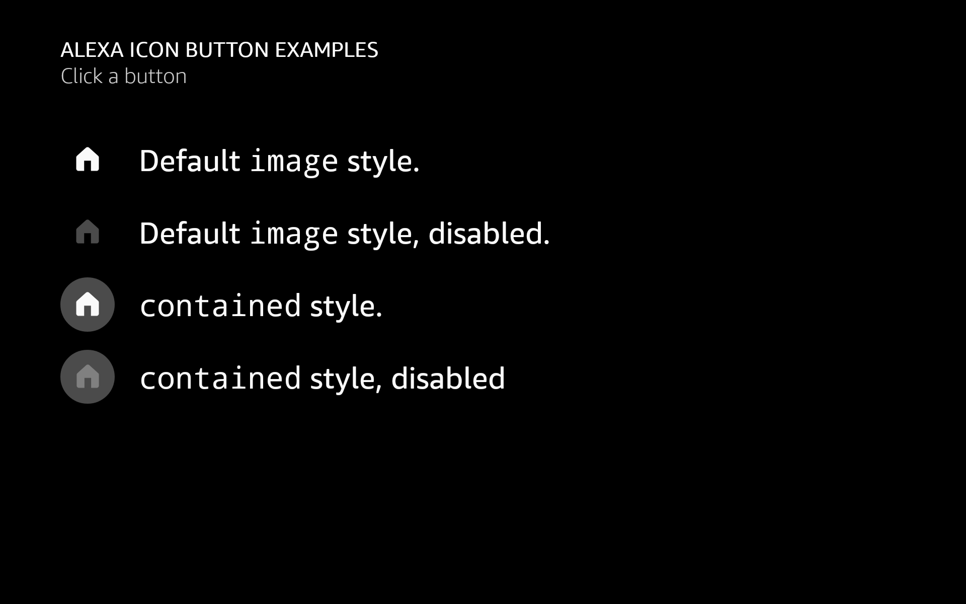 AlexaIconButton examples in different styles
