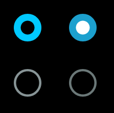 Examples of the radio button with the checked state on and off
