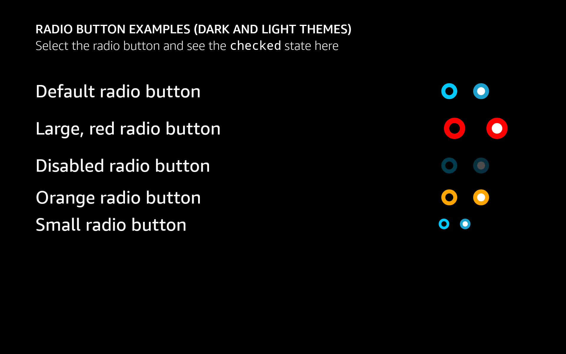 Examples of AlexaRadioButton with different colors and sizes