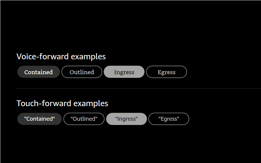 The four button styles in voice-forward and touch-forward variants in a font without italics