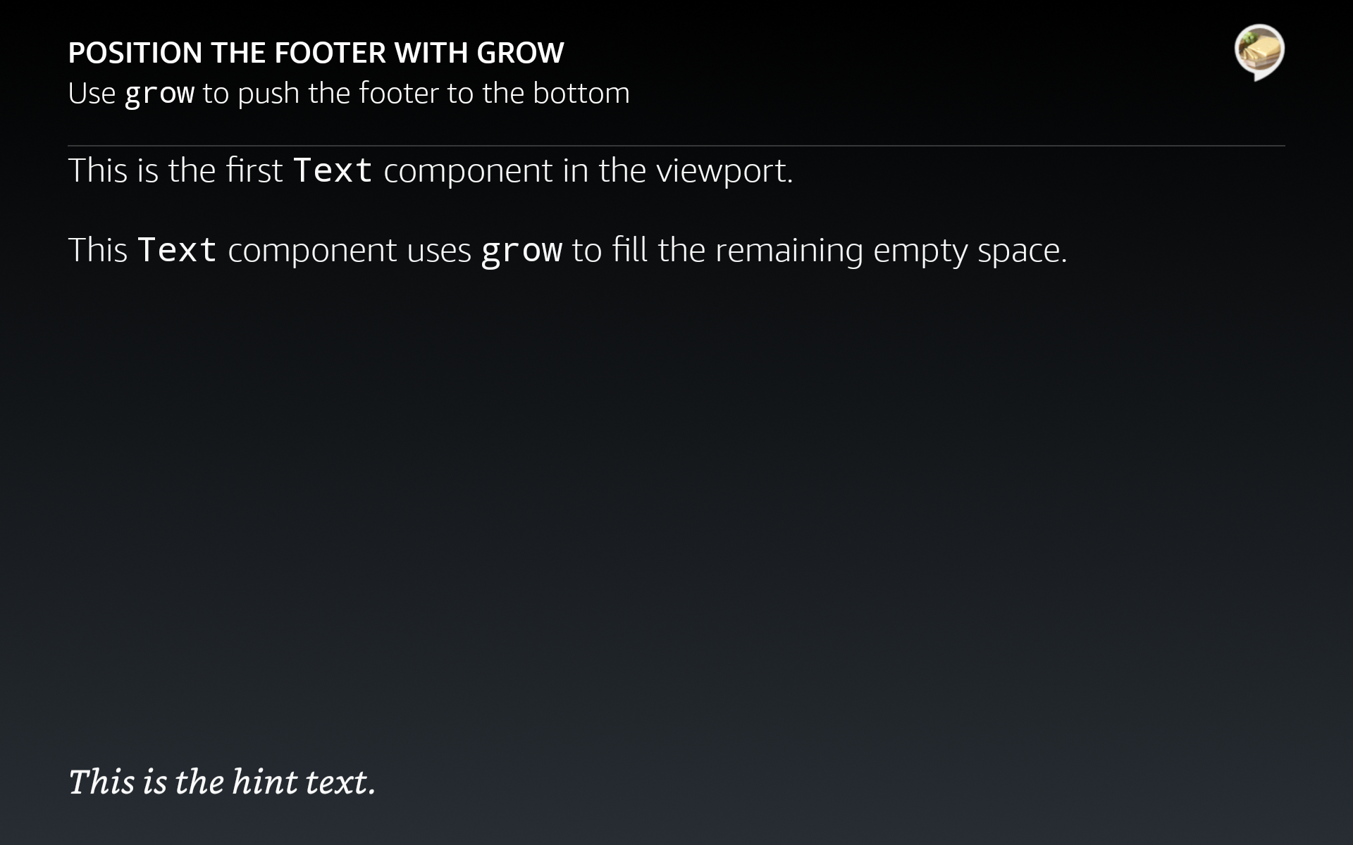 Footer pushed to the bottom of the viewport with grow