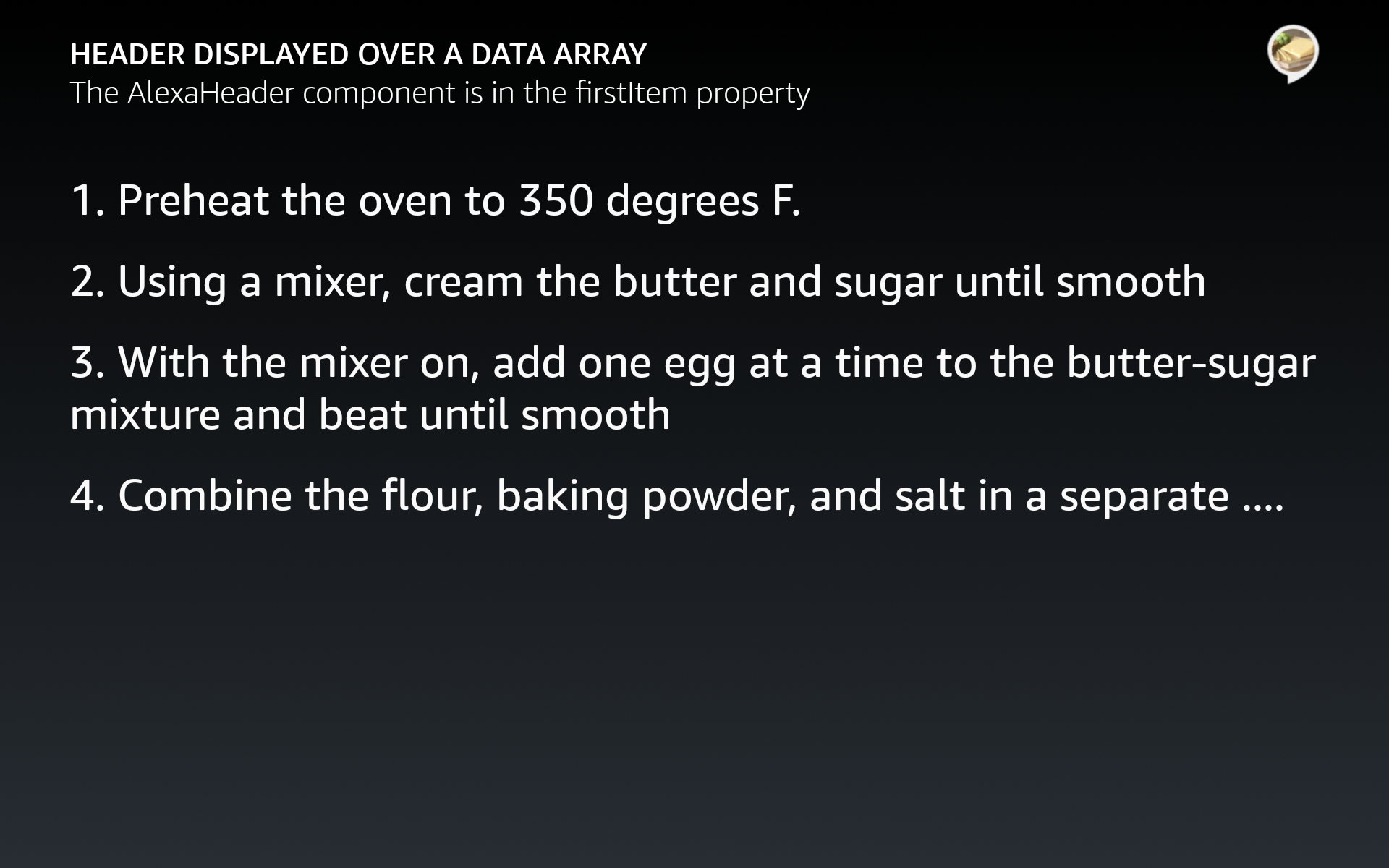firstItemプロパティを使用して、データ配列のインフレートでヘッダーを使用
