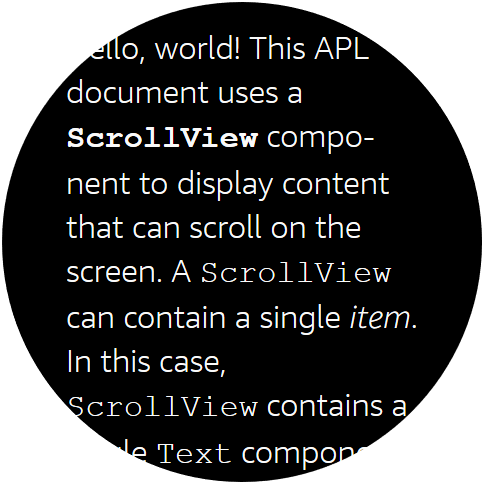 This long text does not look good on a round viewport