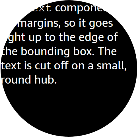 The round viewport clips the edges of the <code>Text</code> bounding box