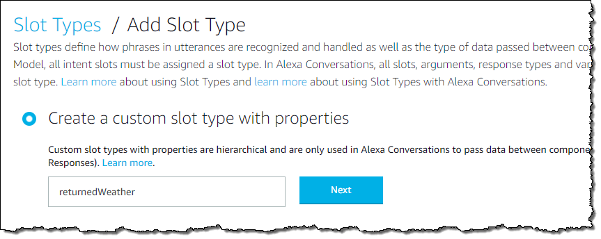 Create a custom slot type with properties