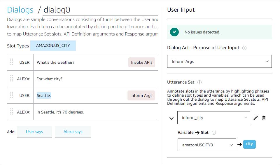 Dialog and User Input panel