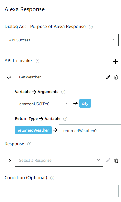 Configure a response for an Alexa turn