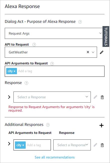Configure a response for an Alexa turn