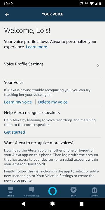 AlexaアプリでAlexaプロフィールを設定します。